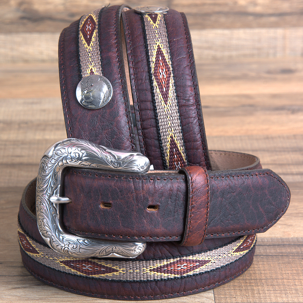 "32"" JUSTIN MENS NORHTERN BISON LEATHER BELT W/ NATIVE AME..."