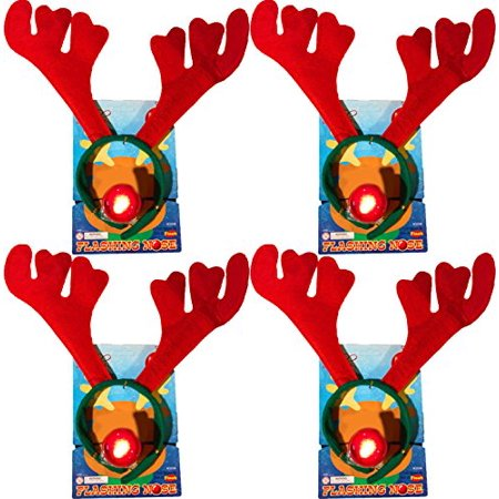 Christmas Holiday Reindeer Antlers Headband w/ Flashing Nose (4 Pack)
