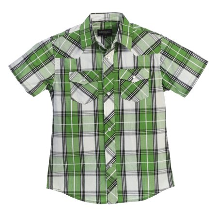 Gioberti Boys Casual Western Plaid Pearl Snap Short Sleeve