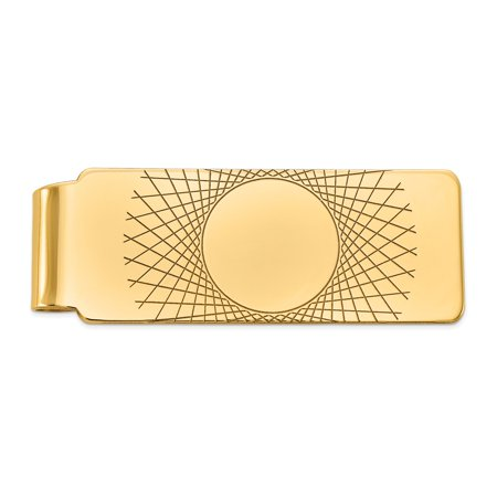 14K Yellow Gold Polished Engravable Money Clip