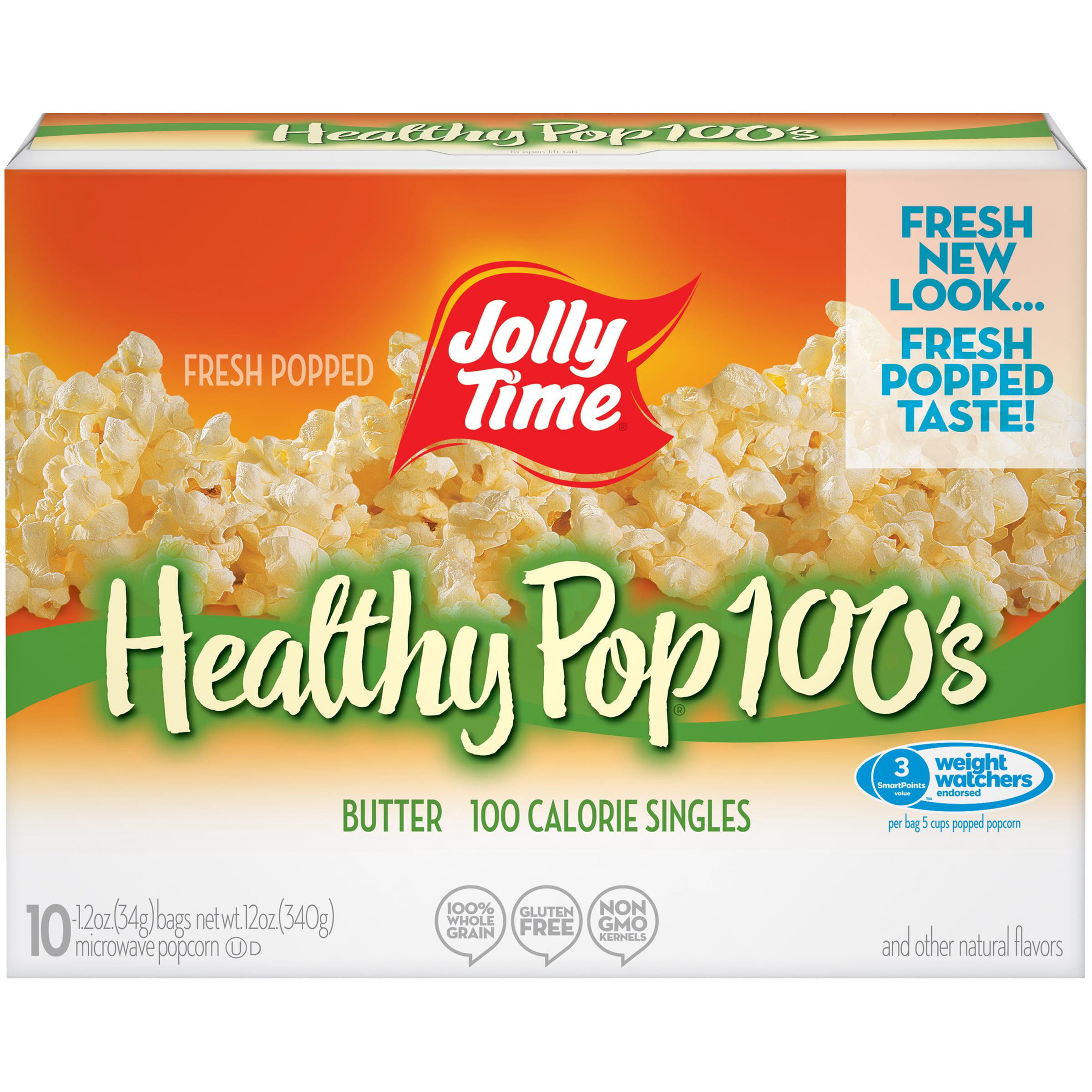 jolly time 100 calorie healthy pop butter microwave pop corn 1 2 oz 10 count walmart com