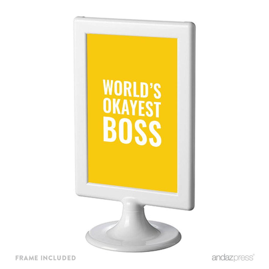World\'s Okayest Boss Funny & Inspirational Quotes Office Framed Desk ...
