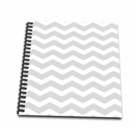 3dRose Gray and White Chevron Zig Zag Pattern - Modern Contemporary grey zigzag stripes - silver zig zags - Drawing Book, 8 by 8-inch