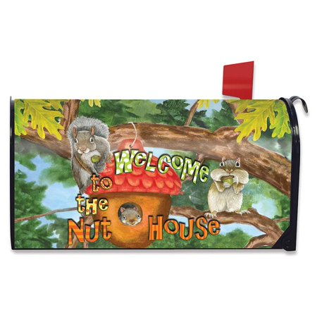Welcome to the Nut House Summer Mailbox Cover Humor Squirrels Standard (Mail House)