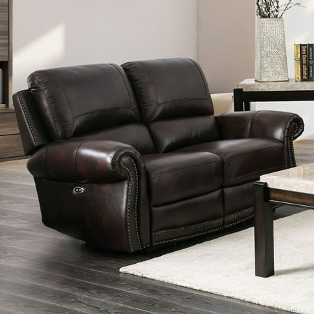 Traditional Leather Upholstery Loveseat in Brown Edmore by Furniture of America