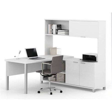bowery hill l desk with hutch in white