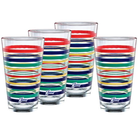 Fiesta Drinking Glasses (Officially Licensed Fiesta Stripes 16-Ounce Tapered Cooler Glass (Set of 4) (Cobalt Collection) Cobalt)