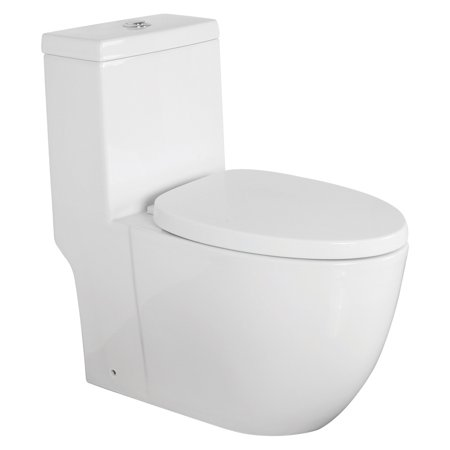 Transolid TBTS-2420-01 Pierce Elongated 1-Piece Vitreous China, Water-Efficient Dual-Flush 1.28/0.8 GPF All-in-One Toilet Kit with Slow-Close Seat,