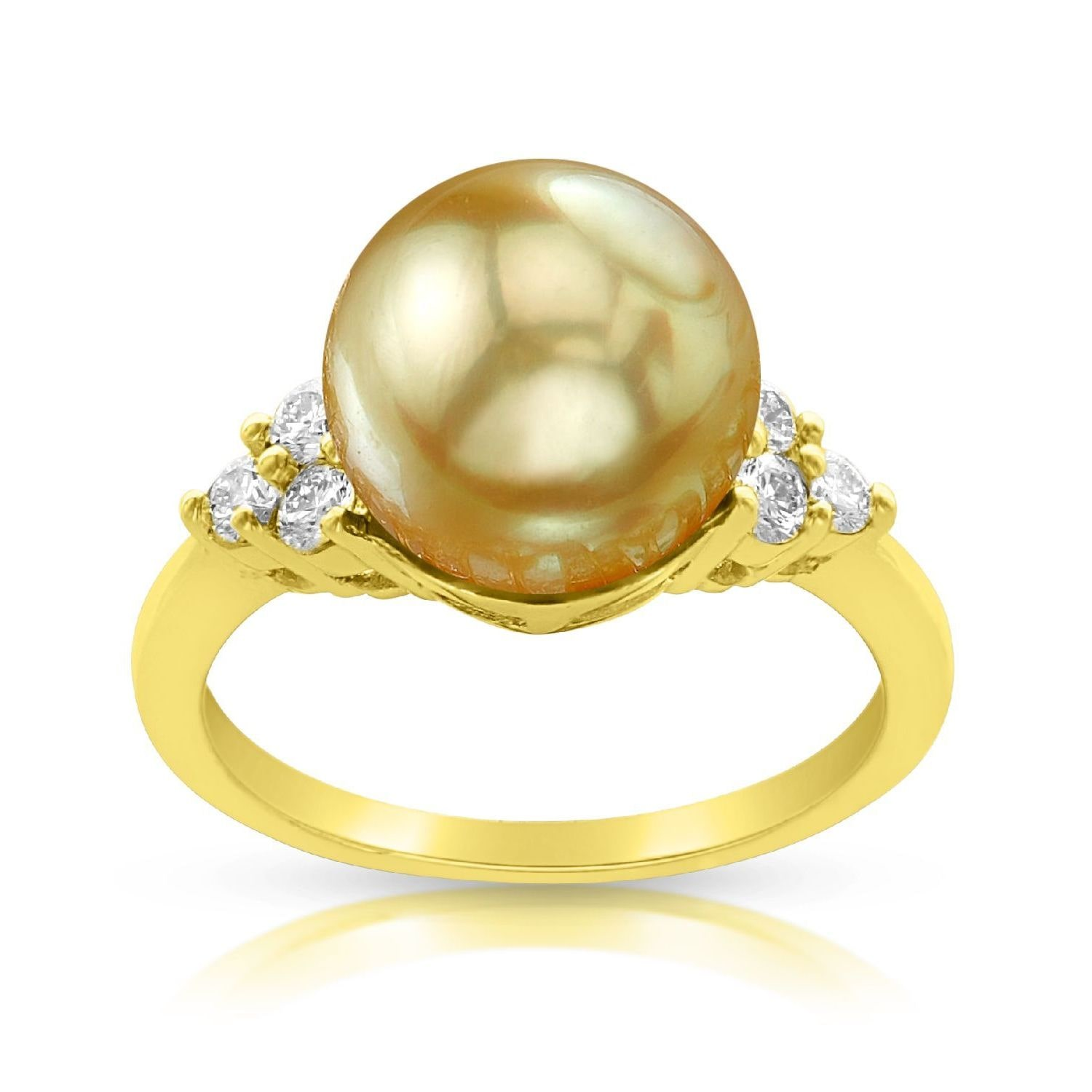 Radiance Pearl 14k Gold Golden South Sea Pearl and Diamond Accent Ring by Overstock