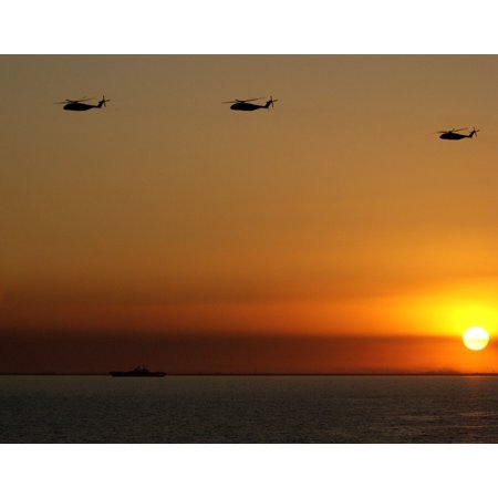 Canvas Print CH-53 Sea Stallion helicopters fly over the Northern Arabian Gulf at sunset. U.S. Coast Guard photo Stretched Canvas 10 x 14