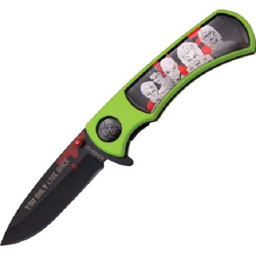 "Master Cutlery ZB-118BG Z-Hunter 4.5"" Folder, Black Stainless Steel Blade, Green ABS Handle with Ep"