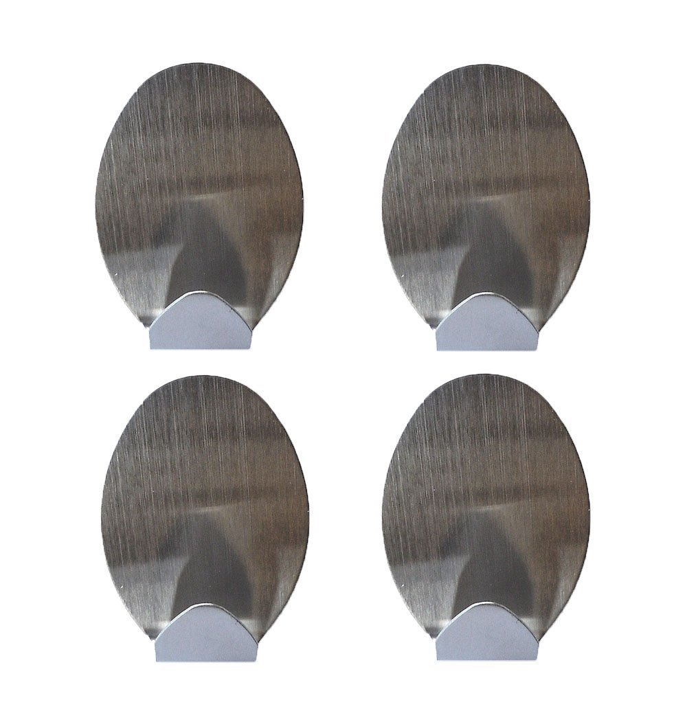 4 Stainless Steel Hooks With Adhesive Backing