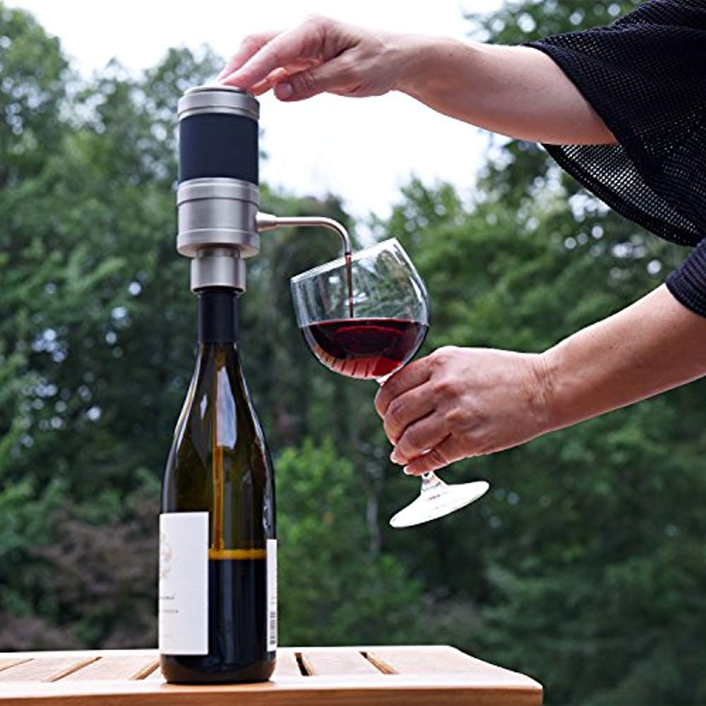 Extension Tube and Micro USB Cable Rechargeable Automatic Wine Pourer with Touch Button Control Ivation Electric Wine Aerator and Dispenser Just Press to Pour! Precision Spout On//Off Aeration