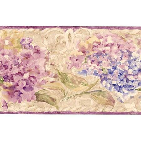 877921 Watercolor Floral Wallpaper Border Si37133b