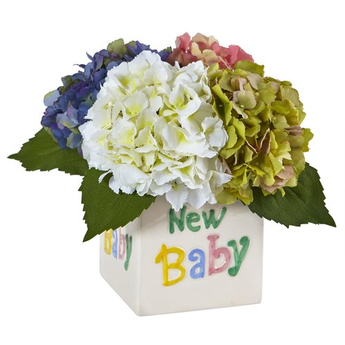 Nearly Natural Hydrangea Floral Arrangements in Decorative Vase