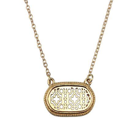 Motif Yellow Necklace - stylesilove Womens Trendy Two-Tone Cutout Quatrefoil Motif Oval Choker Necklace (Gold)