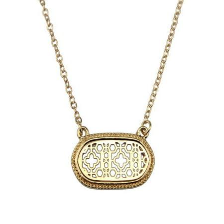 stylesilove Womens Trendy Two-Tone Cutout Quatrefoil Motif Oval Choker Necklace (Gold)