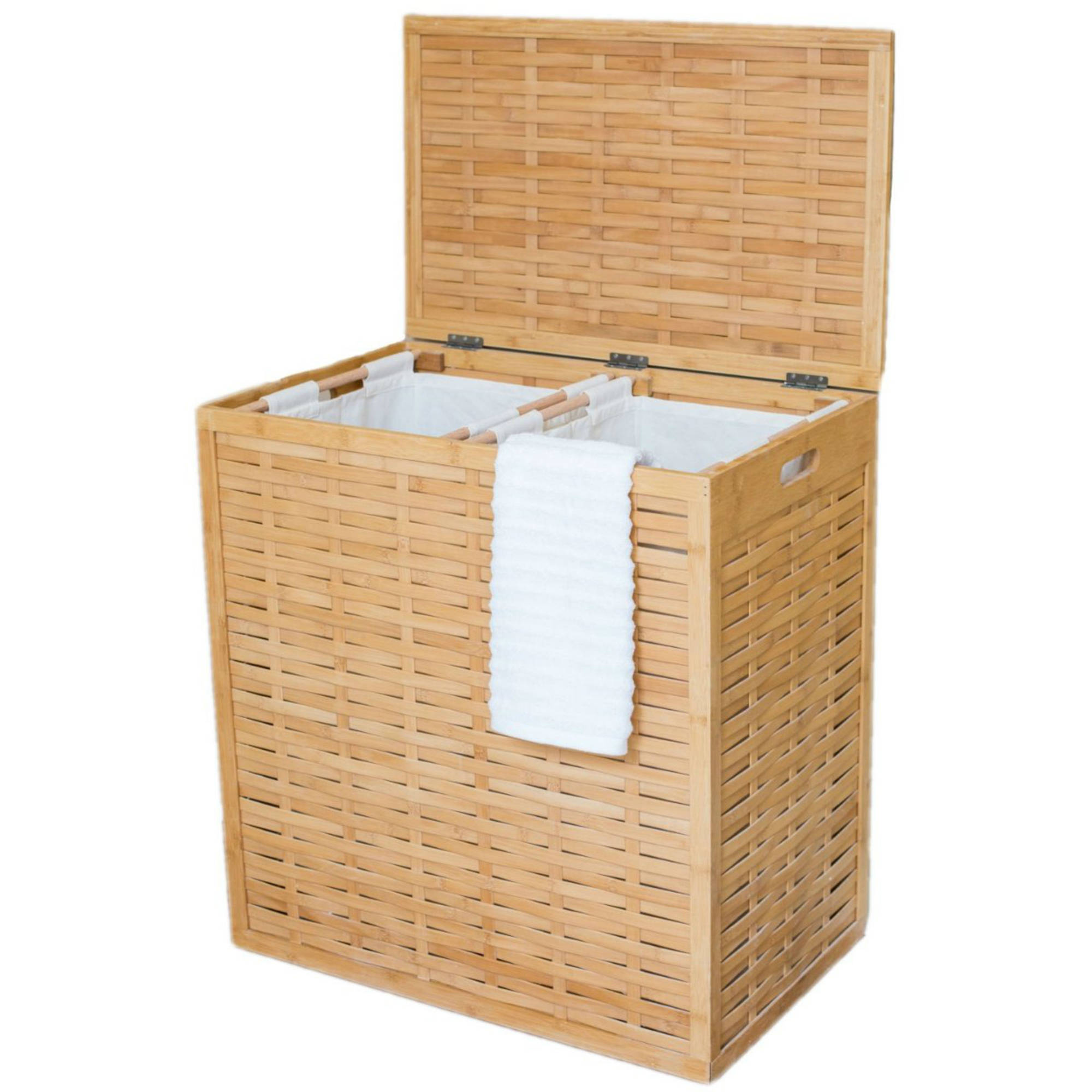 BirdRock Home Divided Bamboo Hamper