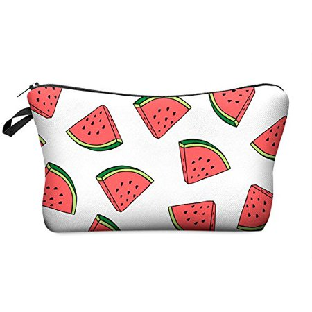 StylesILove Cute Graphic Pouch Travel Case Cosmetic Makeup Bag (Watermelon White) - Watermelon Bag