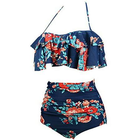 a5eac0a50458a Lelinta - Women s Plus-Size Slimming High-Waisted Bikini Two-Piece ...