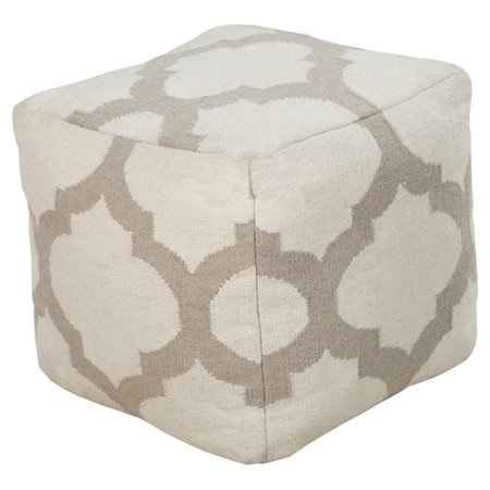 surya 18 in cube wool pouf taupe. Black Bedroom Furniture Sets. Home Design Ideas