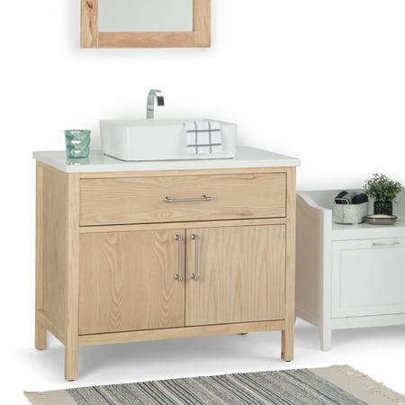 WyndenHall Farley 36 inch Modern Bath Vanity with White Engineered Marble  Top & Rectangular Vessel Sink