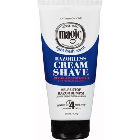 - SoftSheen-Carson Magic Shave Razorless Cream Shave, Regular Strength for Normal Beards, 6 oz