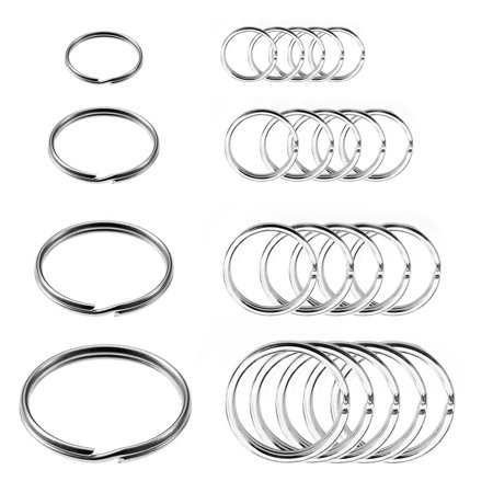 (24 Pc Split Key Rings Assorted Sizes Nickel Plated Tempered Steel Chain Keyrigns)