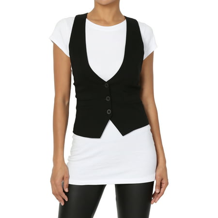 Fully Lined Lace Suit - TheMogan Women's S~3X Dressy Casual Tuxedo Fully Lined Suit Vest Waistcoat