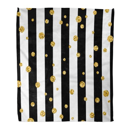 SIDONKU Flannel Throw Blanket Yellow Big Gold Polka Dot on Lines Golden Confetti Soft for Bed Sofa and Couch 50x60 Inches ()