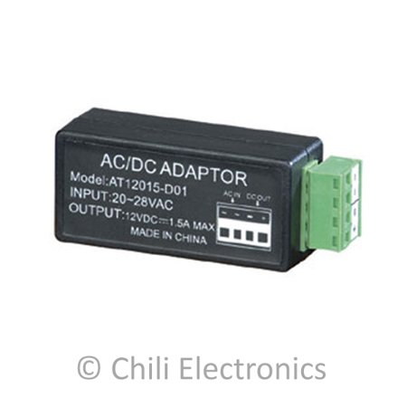 DV-AT12015-D01 Power Switcher 24VAC to 12VDC 1.5 Amp Current Power Adapter ()