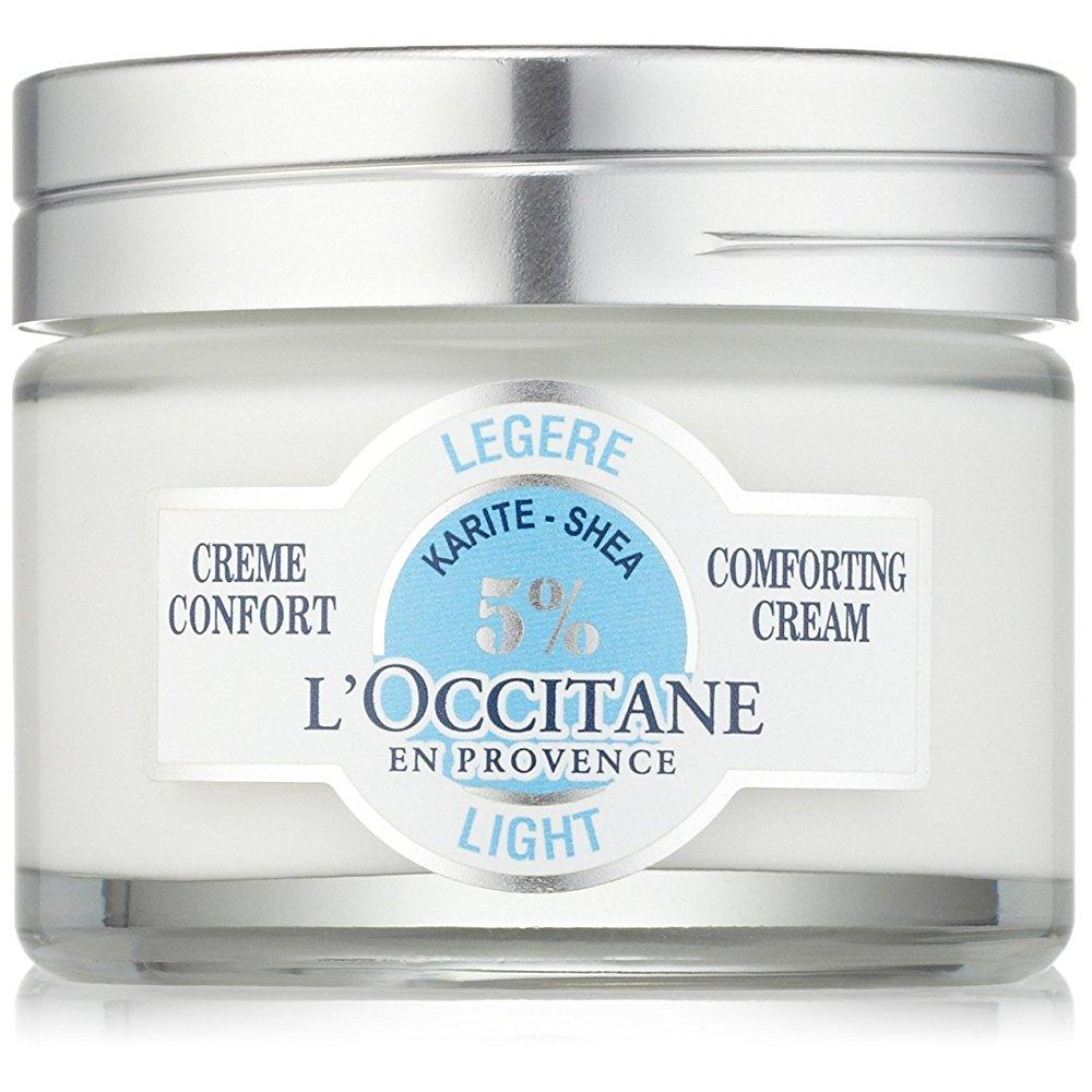l'occitane light 5% shea butter face cream for normal to combination skin, 1.7 oz.