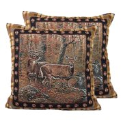 Deer Tapestry Throw Pillows, Pair with Removable Covers, 18 by 18 Inch Square