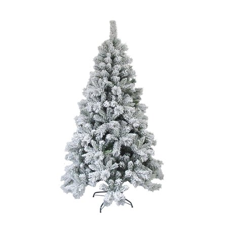 aleko ct95h1252 snow dusted 8 foot artificial holiday christmas tree with green metal stand