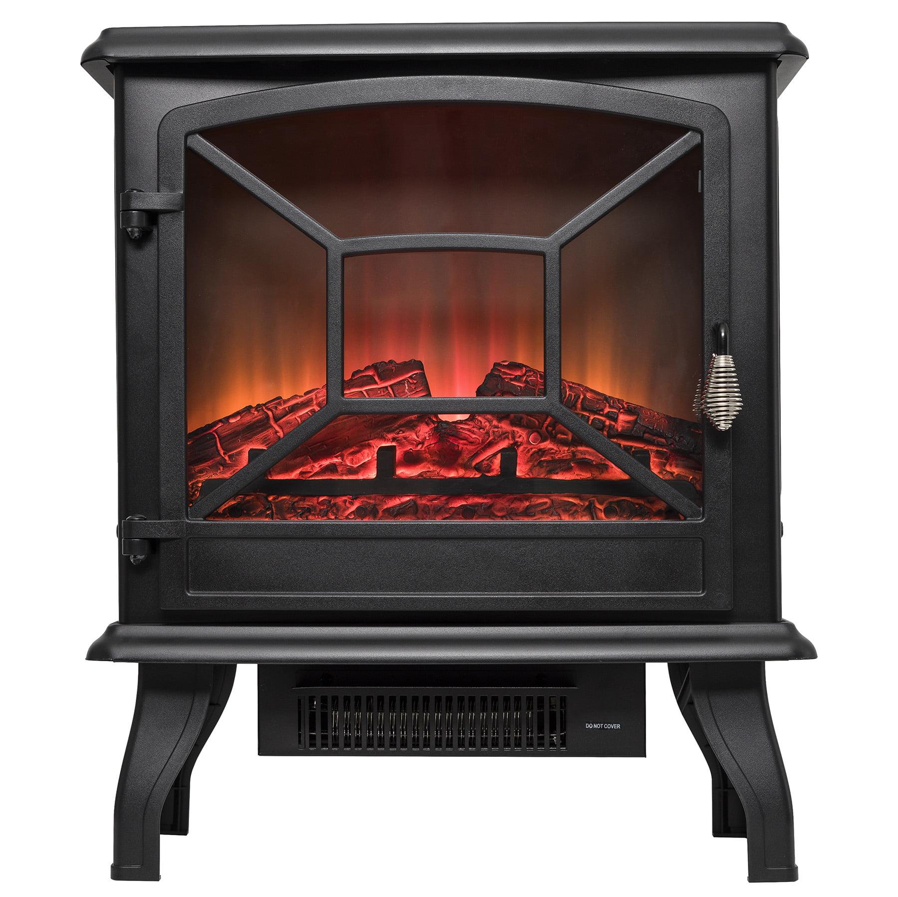 "AKDY FP0081 20"" Freestanding Portable Black Electric Fireplace 3D Flames Firebox Heater w/"