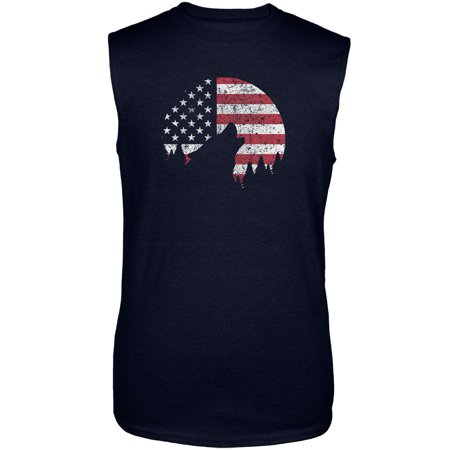 4th Of July Wolf Silhouette Flag Moon Mens Sleeveless Shirt