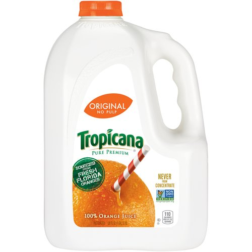 Tropicana Pure Premium Original No Pulp 100% Orange Juice, 128 fl oz