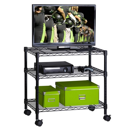 UBesGoo 3-Shelf Shelving Storage Unit on Wheel Casters, Metal Organizer Wire Rack, Black (Metal Shelf Wheels)