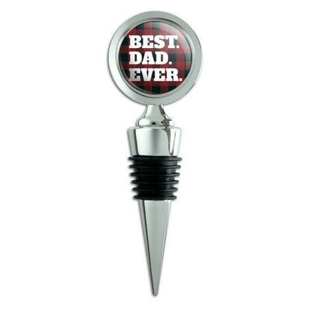 Best Dad Ever Red Black Plaid Wine Bottle Stopper