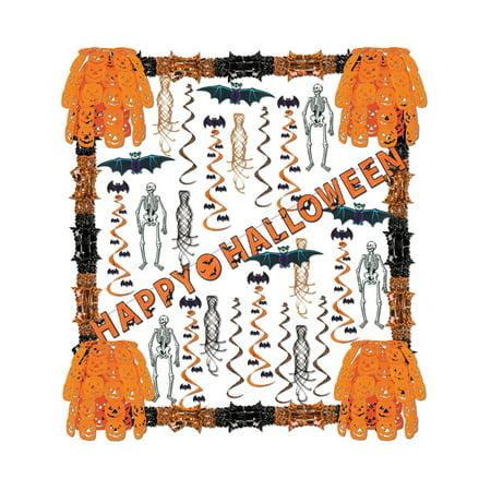 34 Piece Happy Halloween Skeletons Bats Pumpkins Streamers Decorations Kit