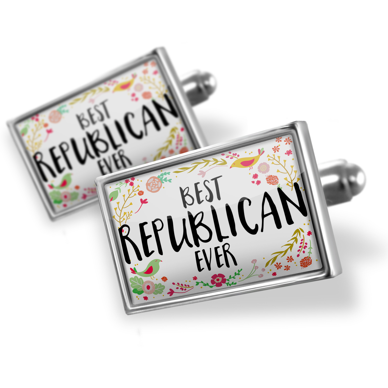 Cufflinks Happy Floral Border Republican - NEONBLOND
