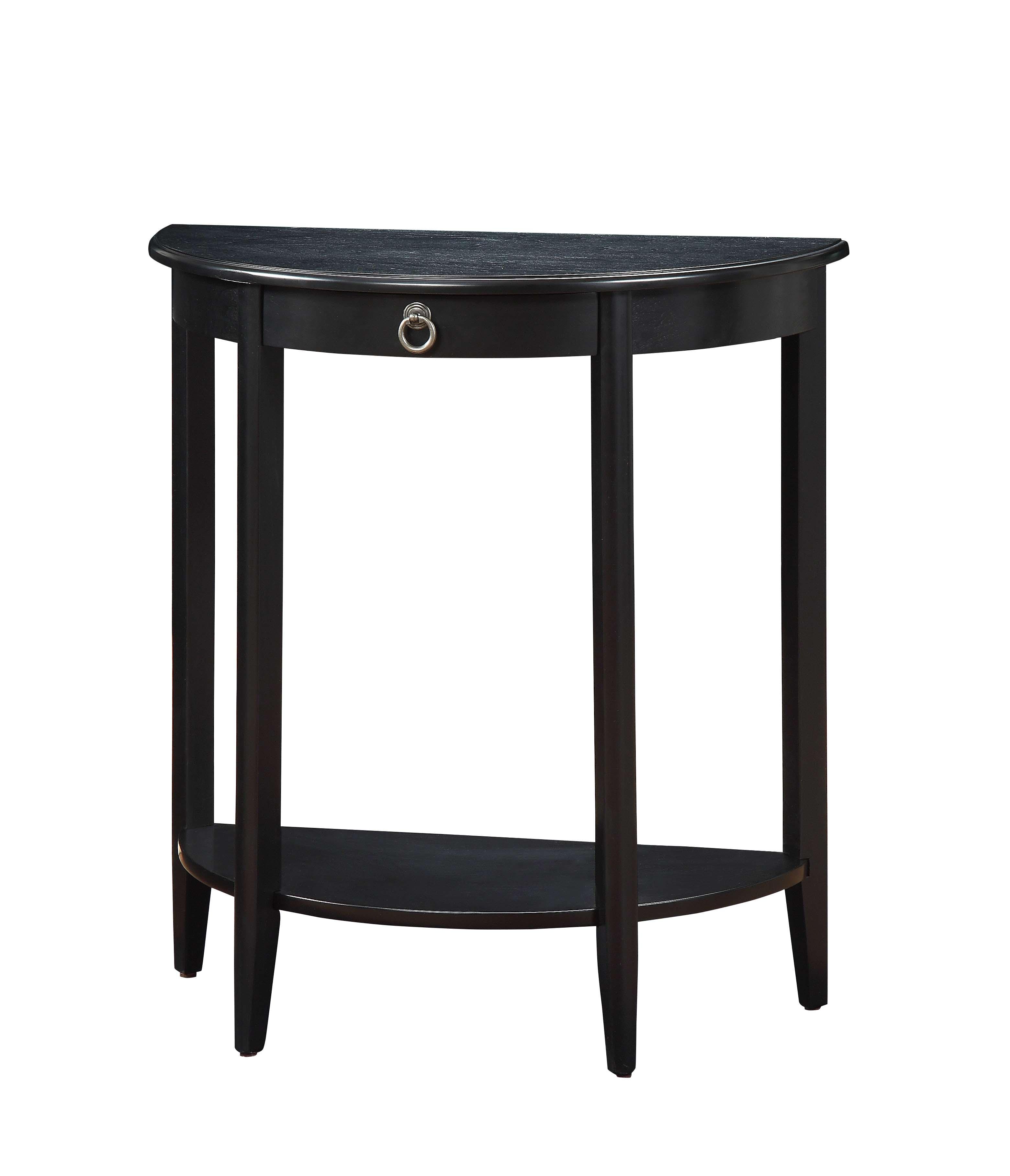Black Half Moon Console Table Inside Acme Elcee Half Moon Console Table In Black With Drawer Walmartcom