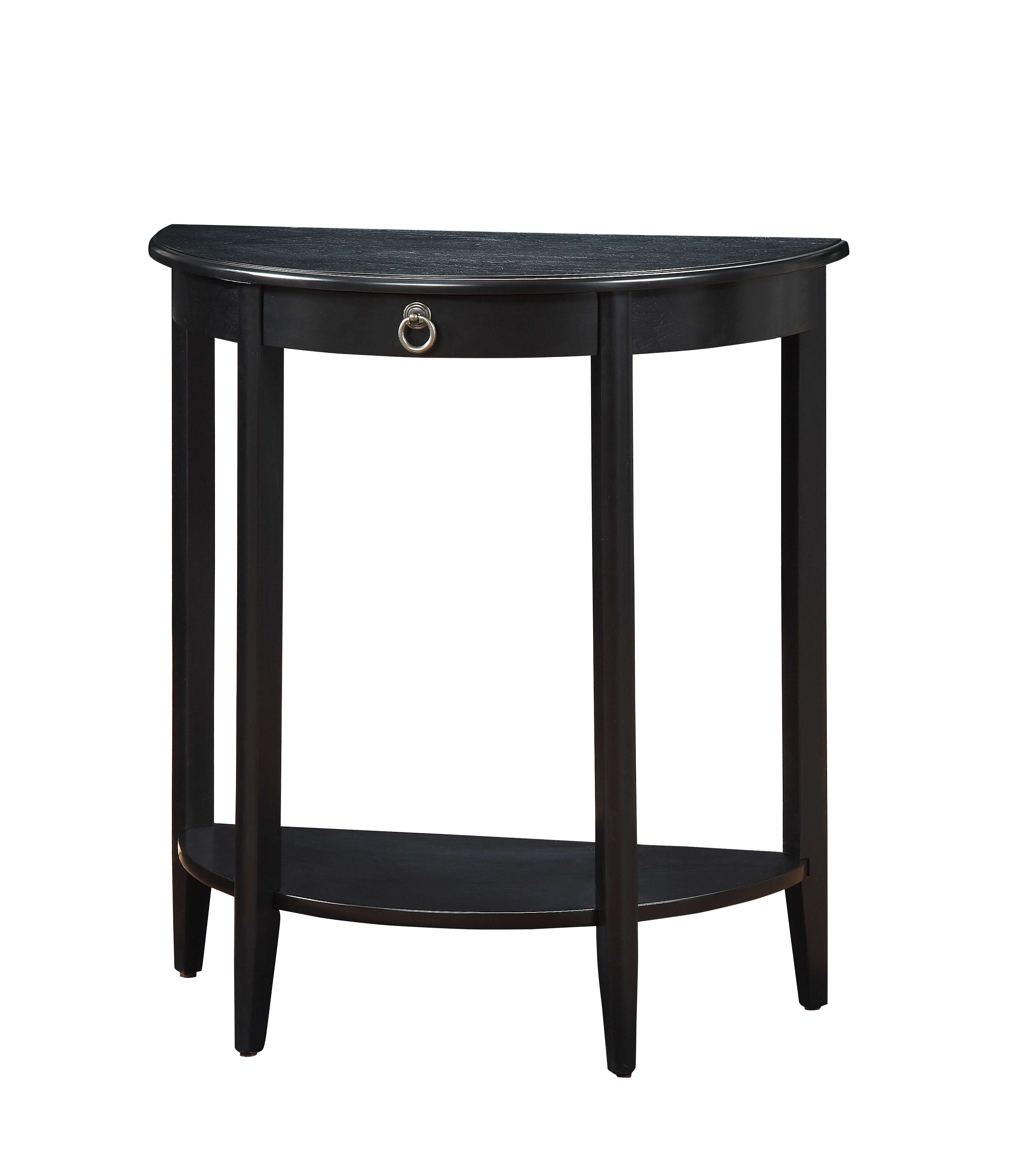 Lovely ACME Elcee Half Moon Console Table In Black With 1 Drawer