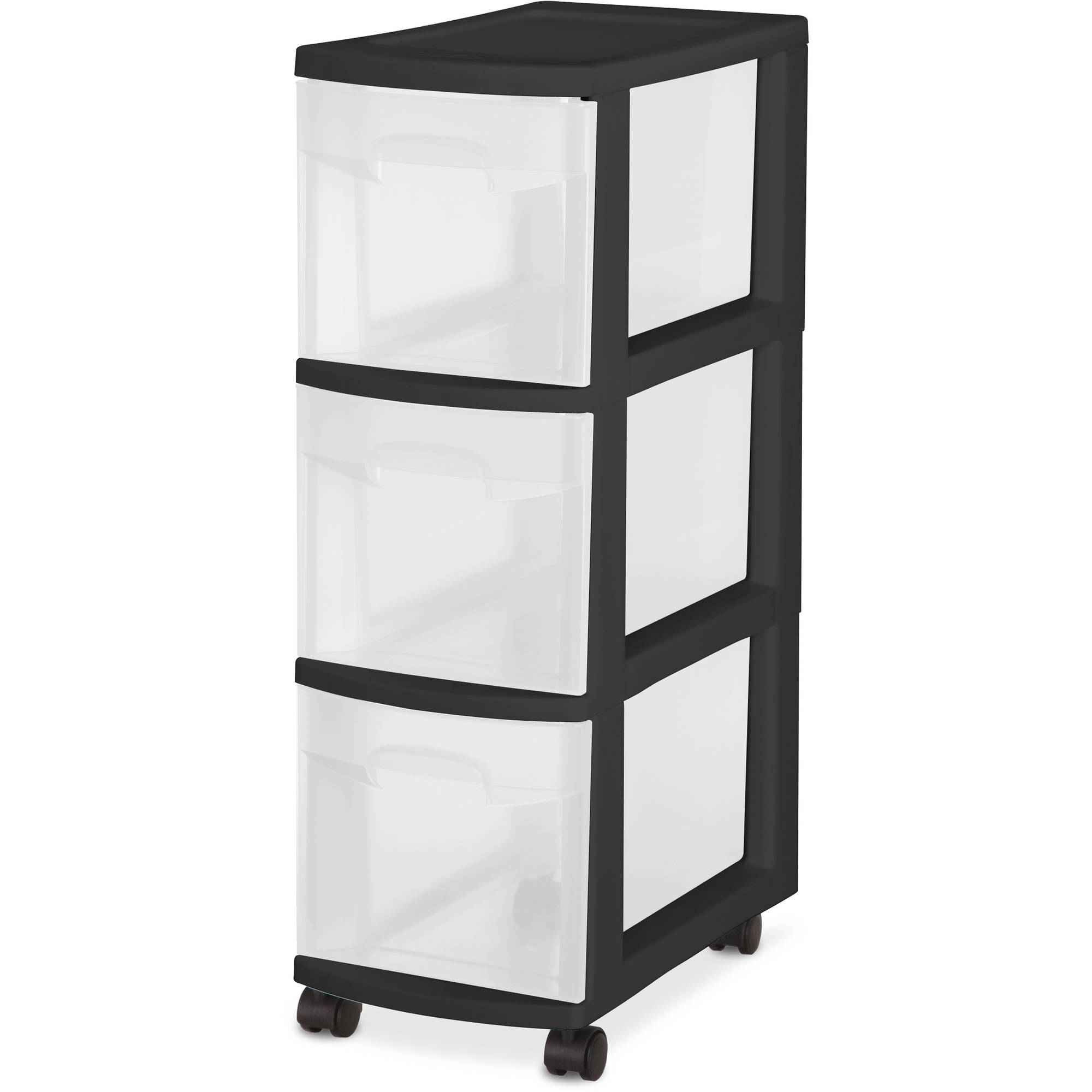 Sterilite 3 Drawer Narrow Cart- Black, Set of 3
