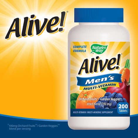 Alive! Men's Multi-Vitamin, 200 Tablets