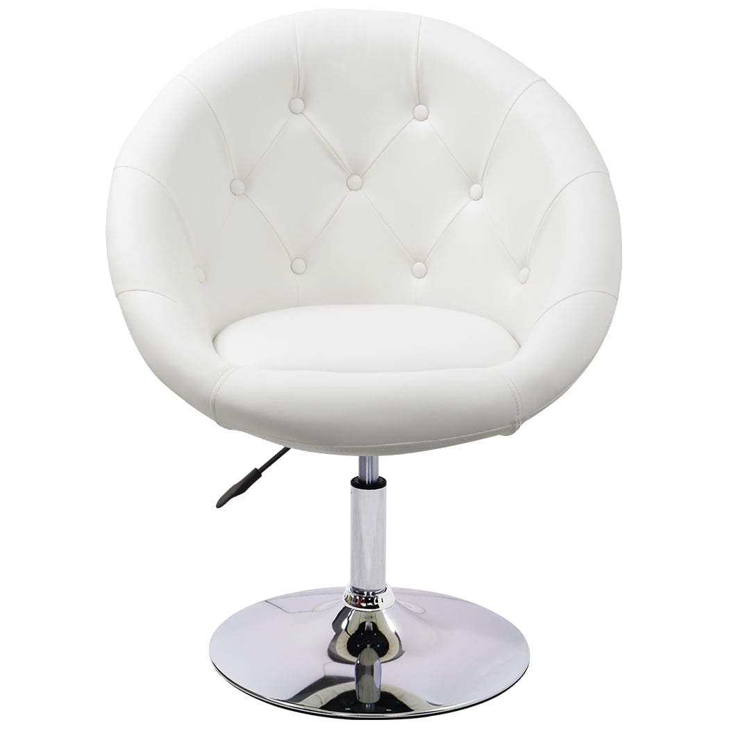 Duhome Vanity Make Up Accent Chairs Jumbo Size Luxury Pu Leather Contemporary Round Swivel Computer Tufted Adjustable Lounge White Walmart Com Walmart Com