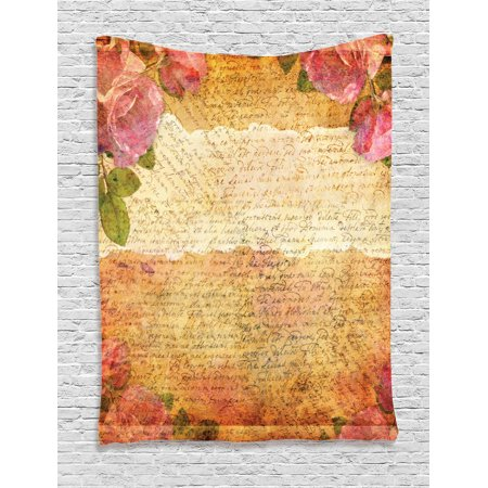 Roses Decorations Wall Hanging Tapestry, Floral Nostalgic Collage Of Old Latters And Roses Artsy Retro Romantic Artwork Print, Bedroom Living Room Dorm Accessories, By Ambesonne