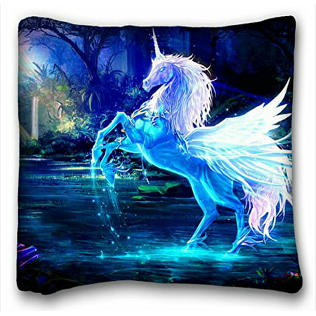 - WinHome Custom Secret Forest White Unicorn Horse On Lake Rainbow Moon Light Throw Pillow Case Creative Personalized Pillowcase Bedding Pillow Slips Size 18x18 Inches Two Side Print