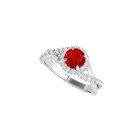 Jewelry Ruby CZ Criss Cross Halo Ring in 925 Sterling Silver - image 2 de 2