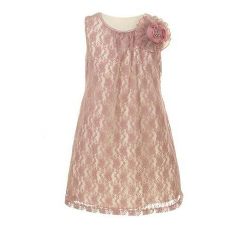 e2c2797a97f37 Cinderella - Girls Dusty Rose Ribbon Pearl Floral Lace Junior Bridesmaid  Dress 8 - Walmart.com